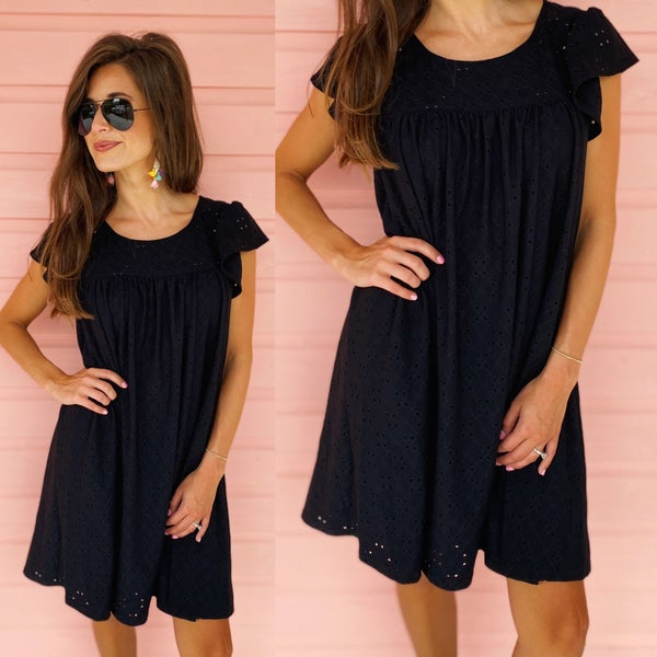 Ellie Eyelet Dress - Black
