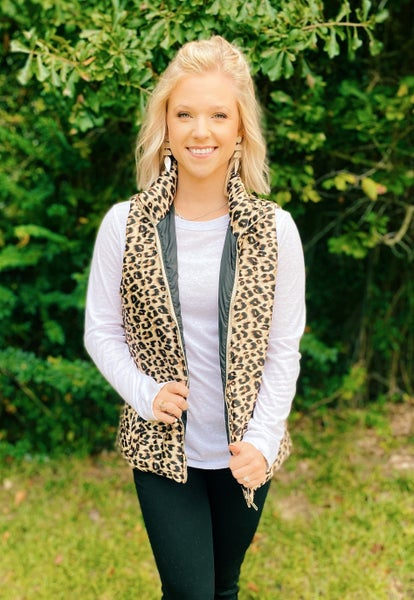 Totally Taupe Leopard Plush Vest