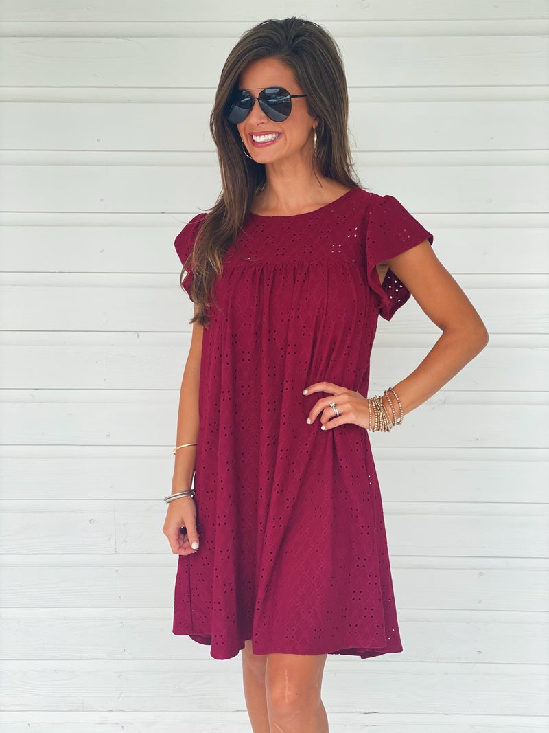 Ellie Eyelet Dress- Burgundy
