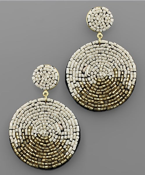Patio Please Disc Beaded Earrings- Gold/Ivory