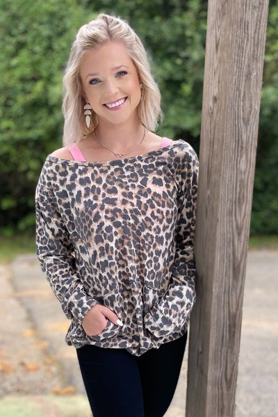 Leopard Slouchy Pullover *Final Sale*