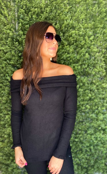 Free To Be Me Off Shoulder Sweater- Black