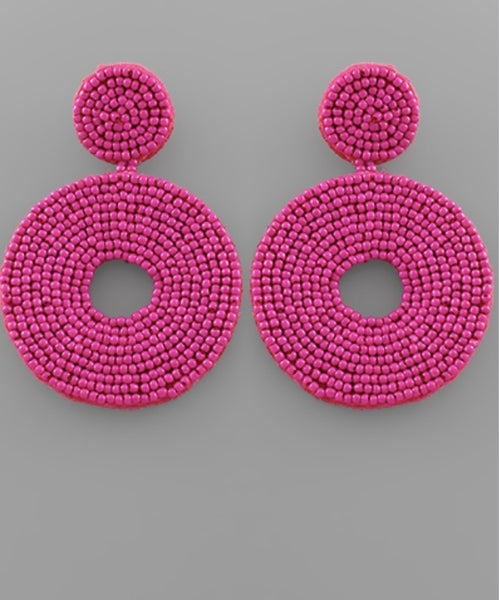 Hot Fuchsia Seed Bead Circle Earrings