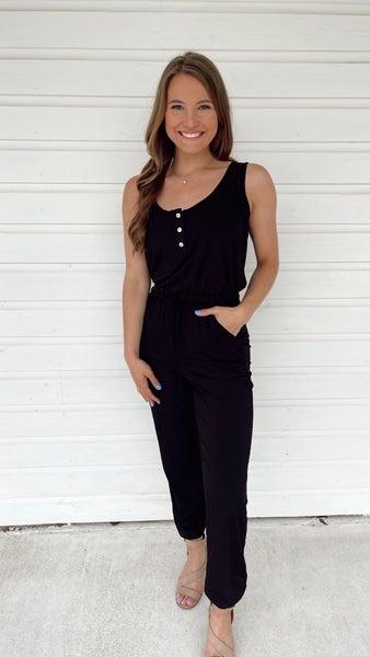 Striking Beauty Ribbed Jumpsuit- Black