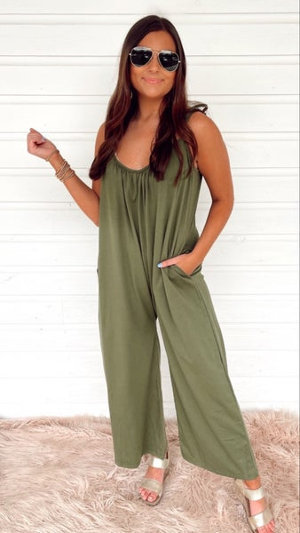 Easy Come Easy Go Jumpsuit- Olive