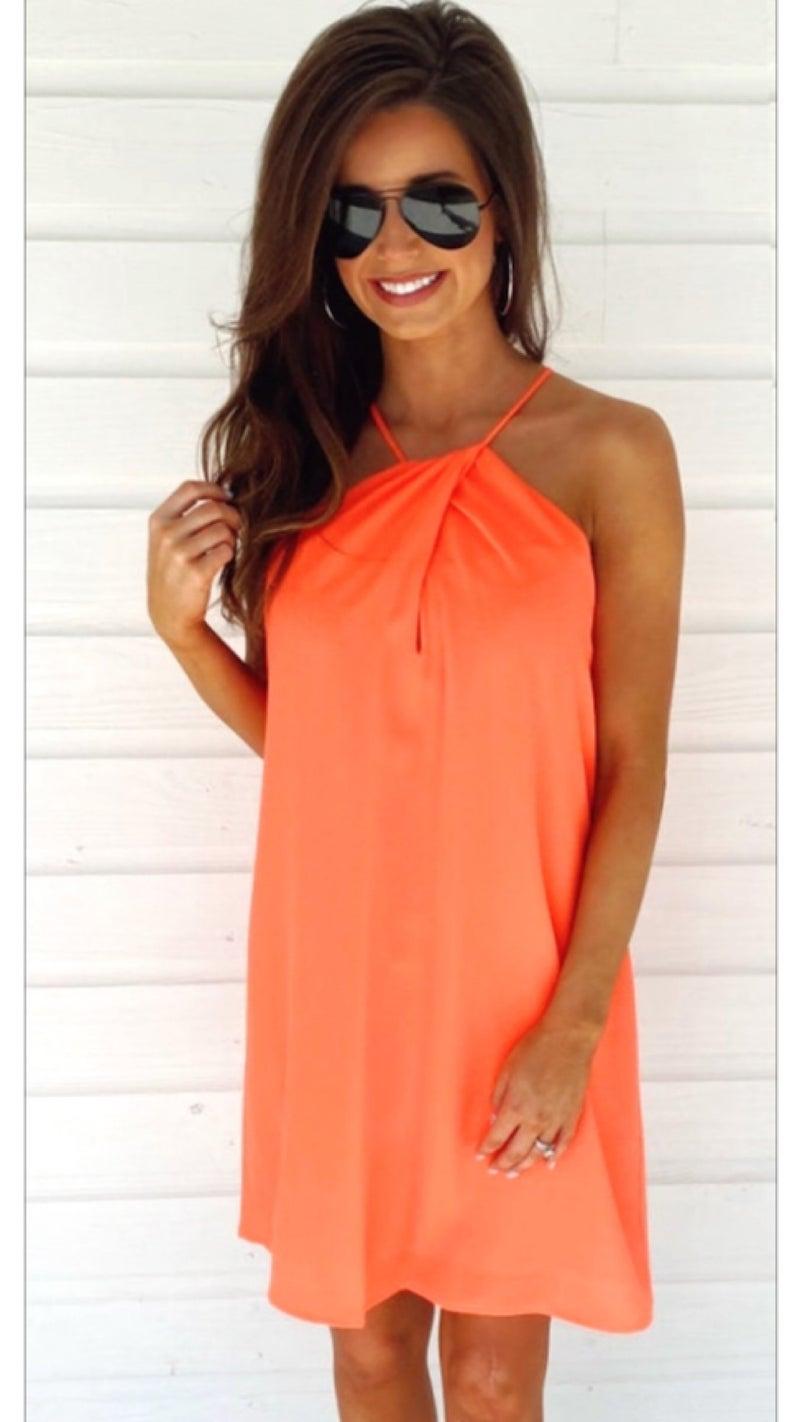 Coral Halter Neck Dress