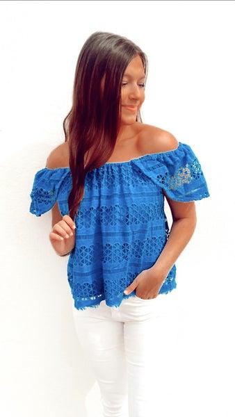 Bella Blue Off Shoulder Top