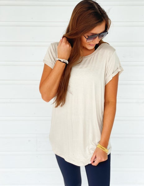 Everlee Scoop Neck Top- Natural