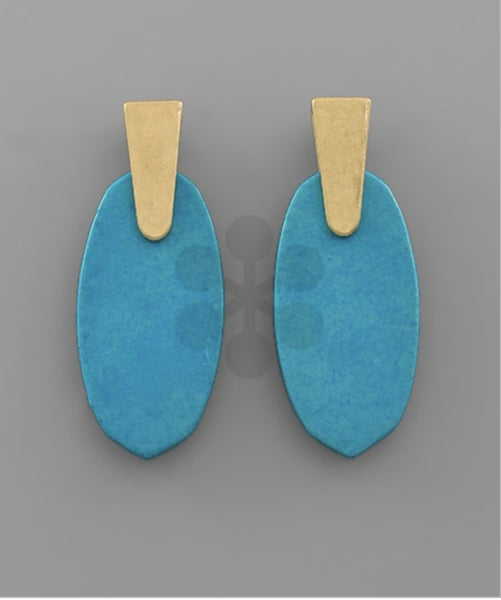 Hexagon Stone Earrings-teal