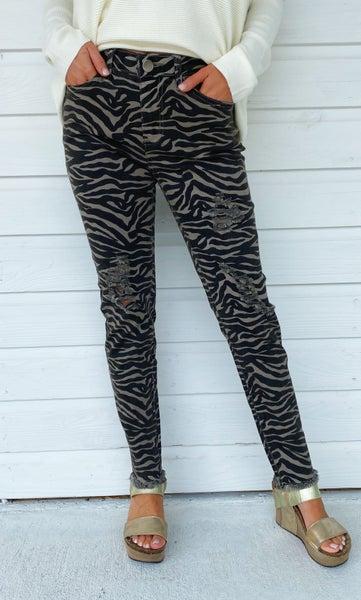 Go With It Zebra Skinnies