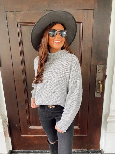 Tatum Turtleneck Sweater- Grey
