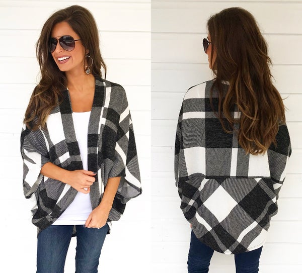 Black & White Plaid Cardigan