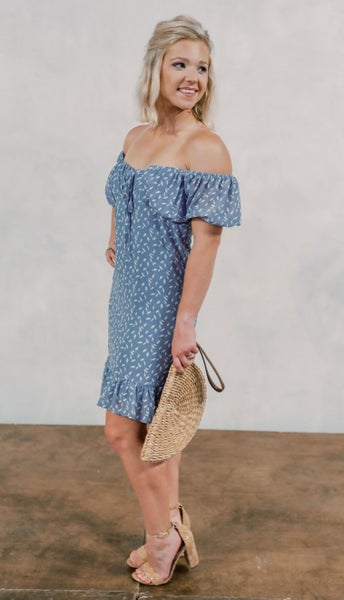 Misty Blue Spotted Dress