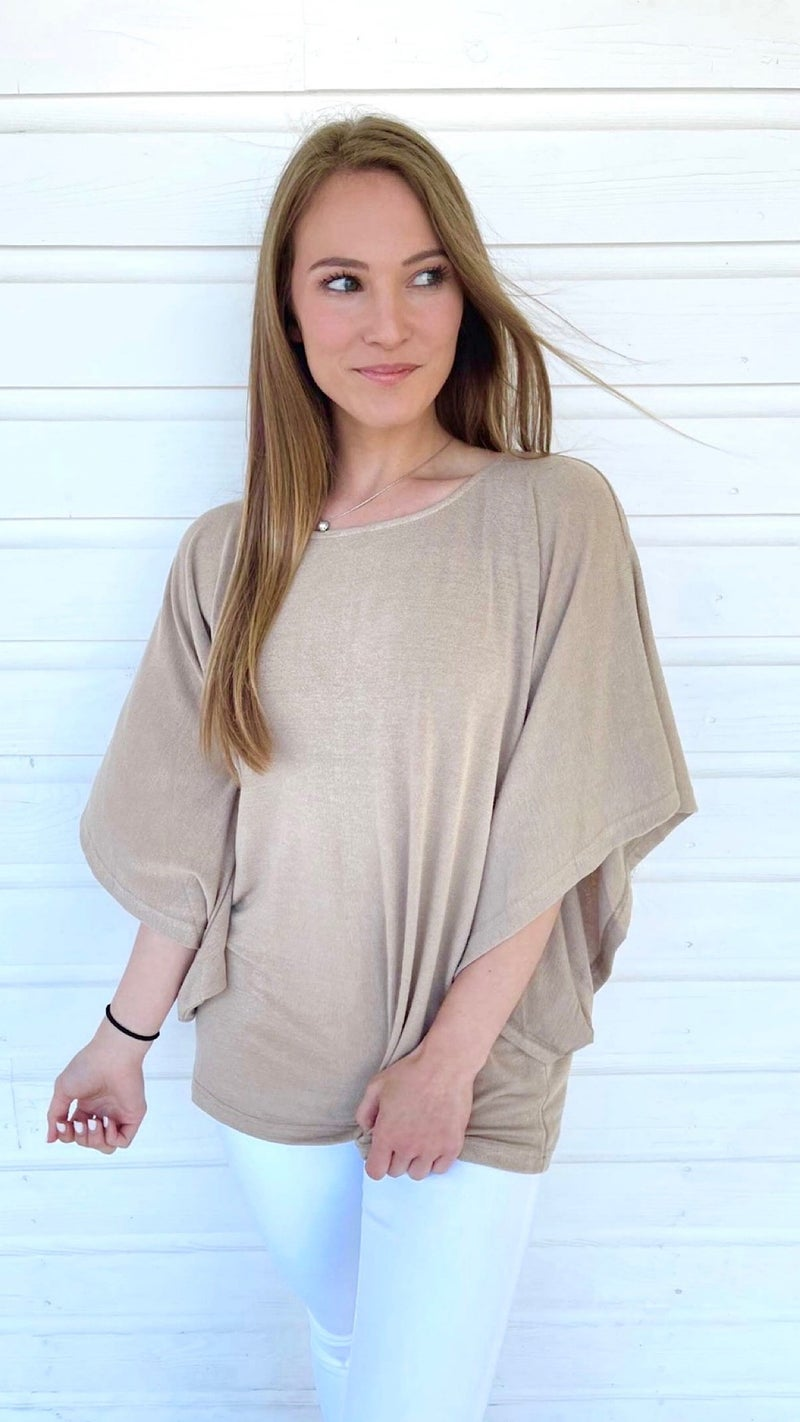 Taupe Dolman Sleeve Top