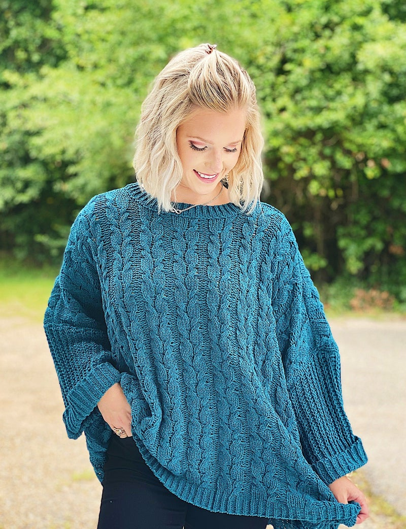 Forest Green Cuffed Chenille Sweater