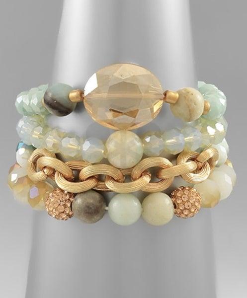 Cluster Bead Bracelet - Mint