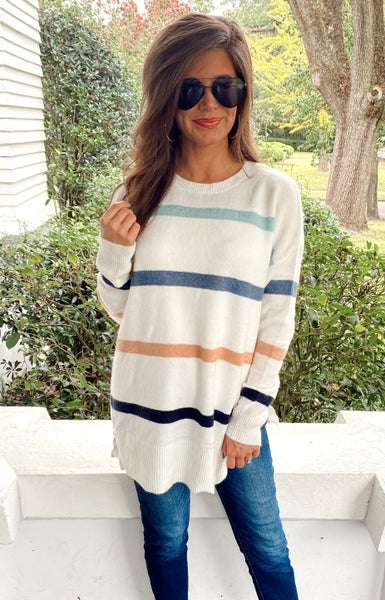 Sweet as a Peach Striped Sweater