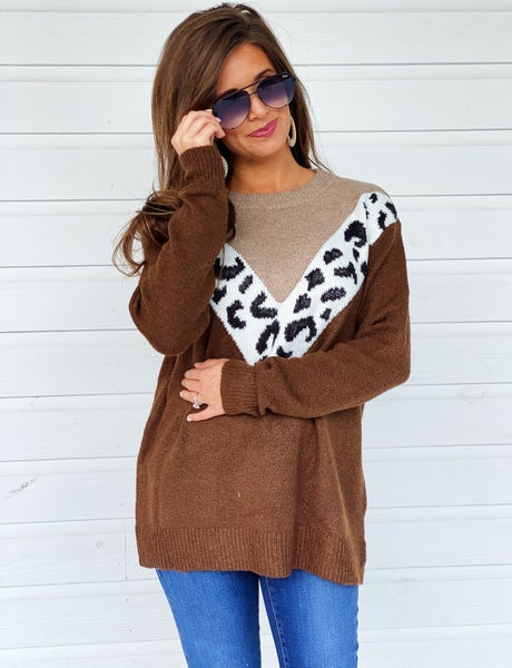 Abby Color Block Sweater- Brown