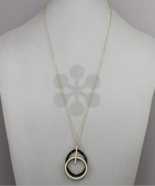 Make It Count Bead & Circle Necklace- Jet