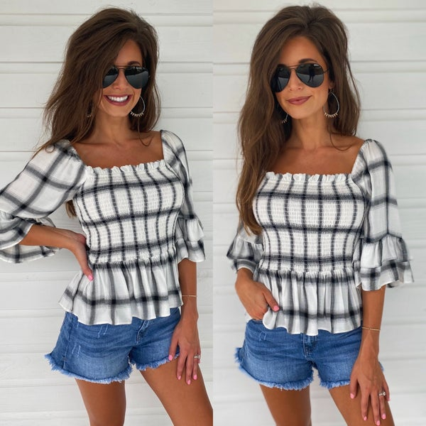 Precious Plaid Smock Top