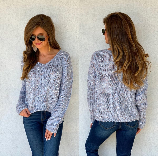 Dreaming of Blue Knit Sweater