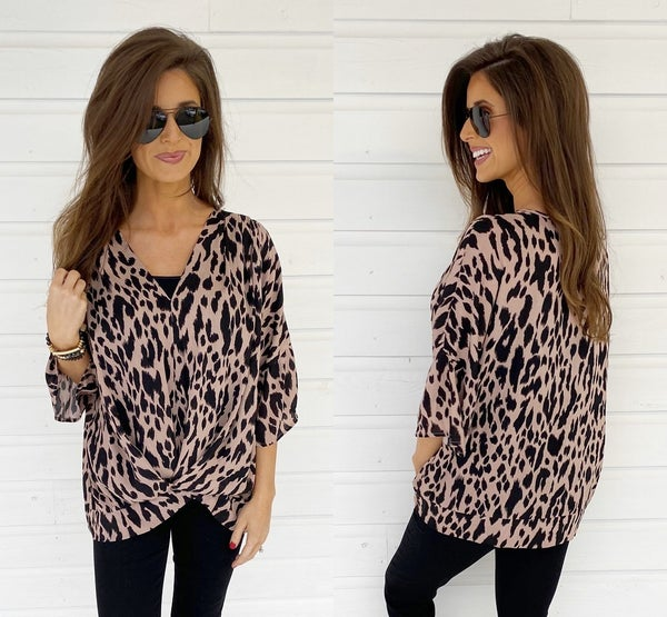 Mocha Animal Print Wrap Top