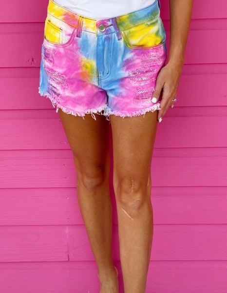 Rainbow Vibes Tie Dye Shorts