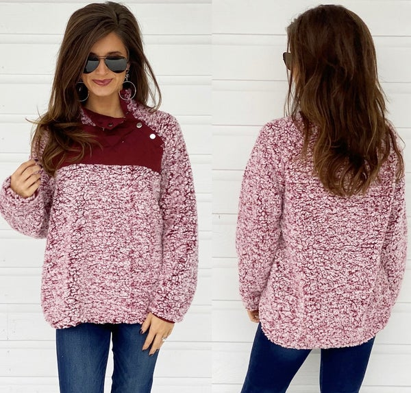 Wine Button Sherpa Pullover