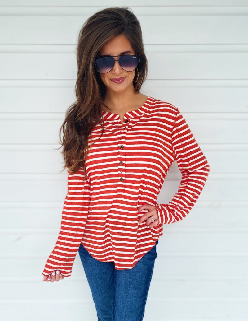 Brick Striped Button Front Top