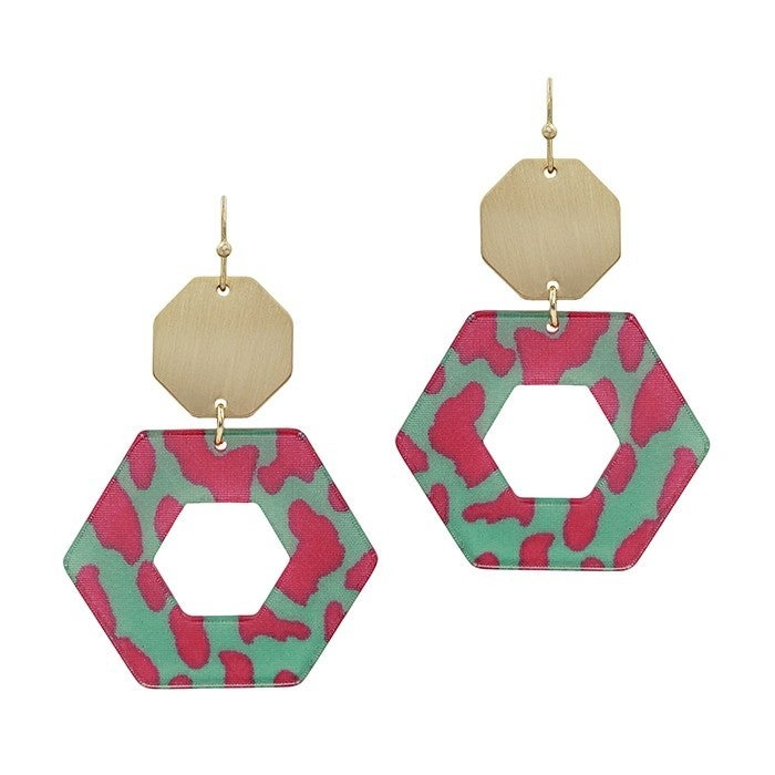 Hot For Pink & Turquoise Hexagon Earrings