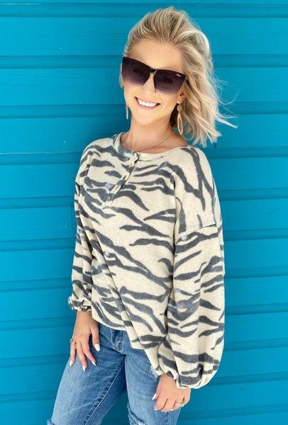 Zebra Printed Pullover