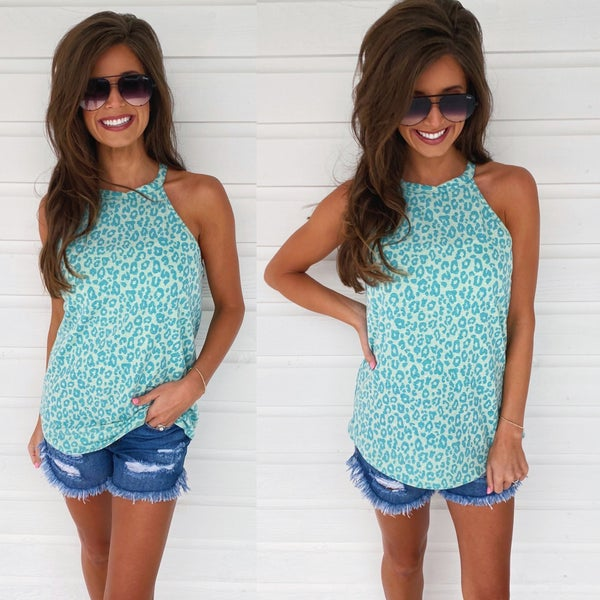 Getting To Know You Animal Print Top- Mint