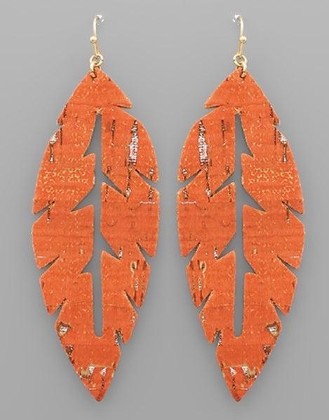 Burnt Orange Leaf Earrings