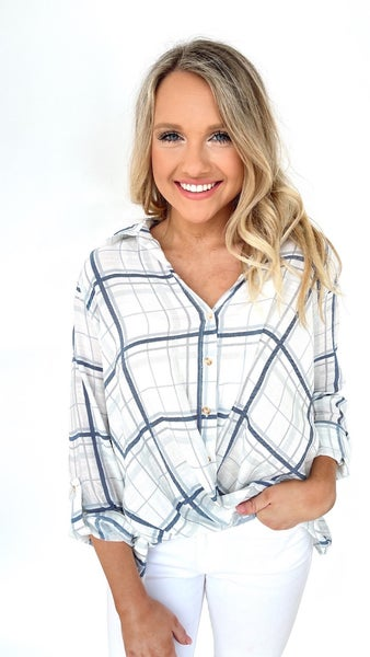 Twisted In Plaid Front Knot Top