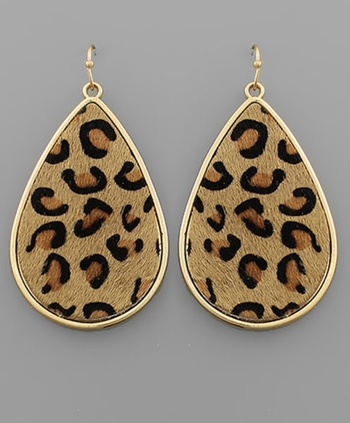 Leopard Leather Teardrop Earrings