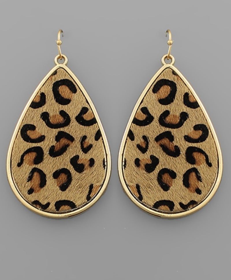 Leopard Leather Teardrop Earrings