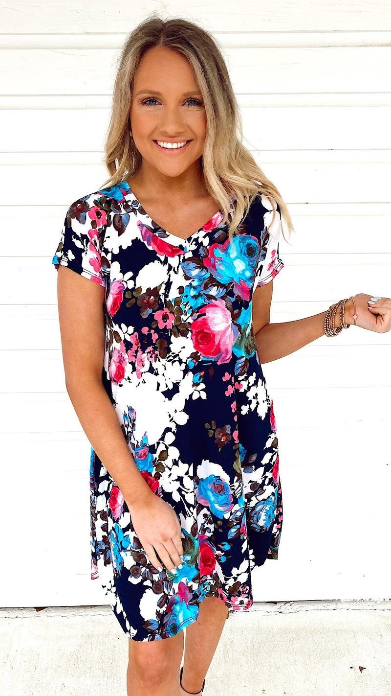 Nova Navy Floral Dress