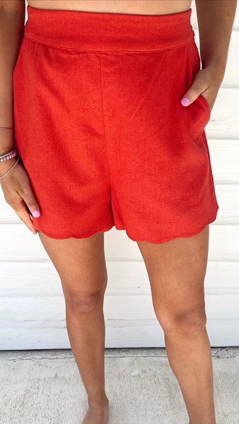 Strawberry Wine Scalloped Linen Shorts
