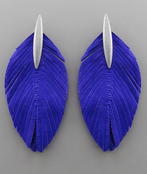 Royal Blue Leather Feather Bar Earrings