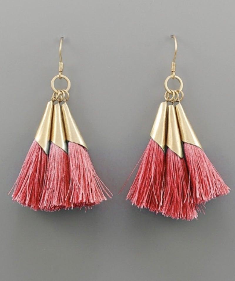 Dainty Fuchsia & Gold Tassel Earrings