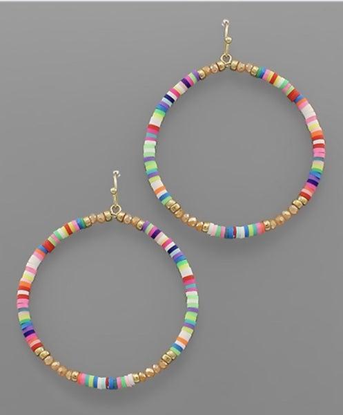 Multi Colored Hoop Beaded Earrings