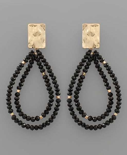 Double The Style Beaded Teardrop Earrings- Jet Black