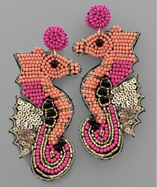 Be Seen Coral Seahorse Earrings
