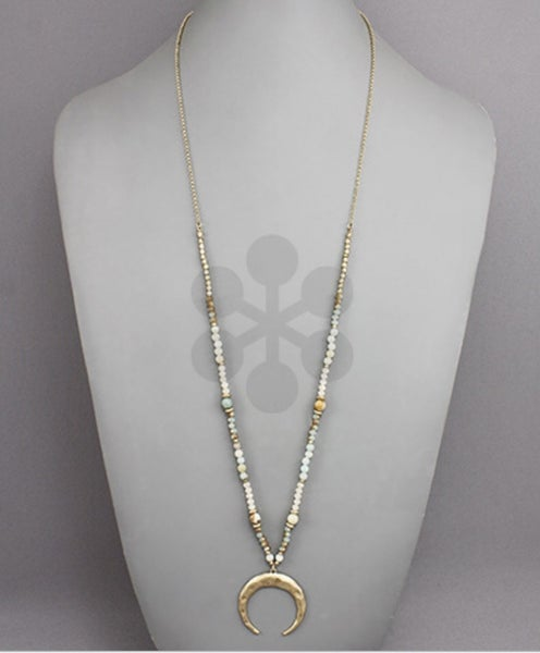 Horn & Bead Necklace-Mint