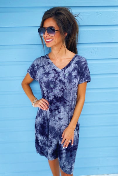 Zoey Navy Tie Dye Dress