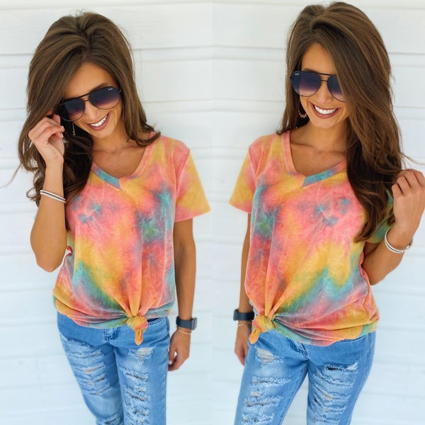 Tara Tie Dye Top- Green