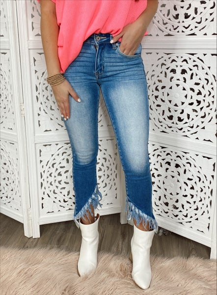 Alyssa Frayed Ankle Denim Skinnies