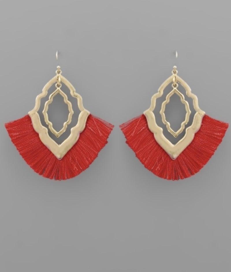 Red Tassel & Quatrefoil Earrings