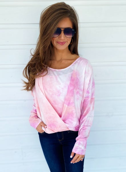 Head In The Clouds Tie Dye Top- Pink