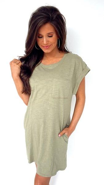 Green Escape Front Pocket Tee Dress